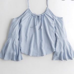 Hollister bell sleeved tie strap blouse